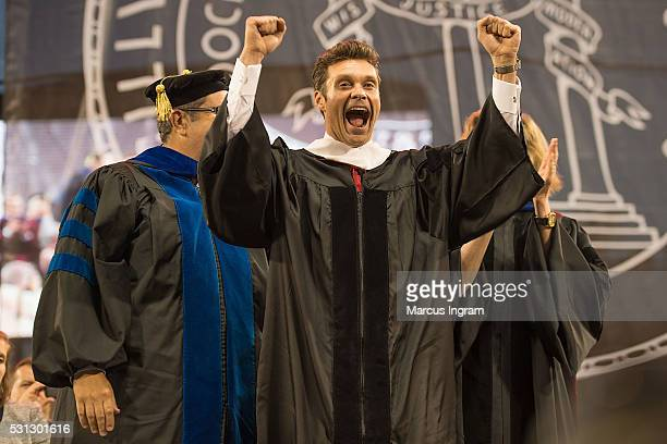 Ryan Seacrest receives the Honorary Doctor of Humane Letters Degree during University of Georgia commencement at Sanford Stadium on May 13 2016 in...