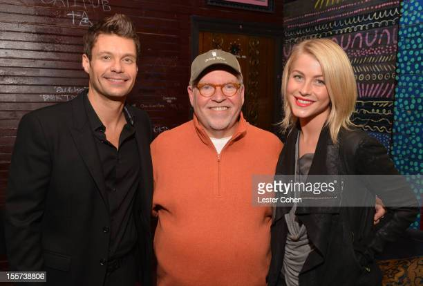 Ryan Seacrest, Senior VP of programming at Clear Channel, John Ivey, and Julianne Hough attend City of Hope's Fifth Annual MEI Comedy Roast Honoring...