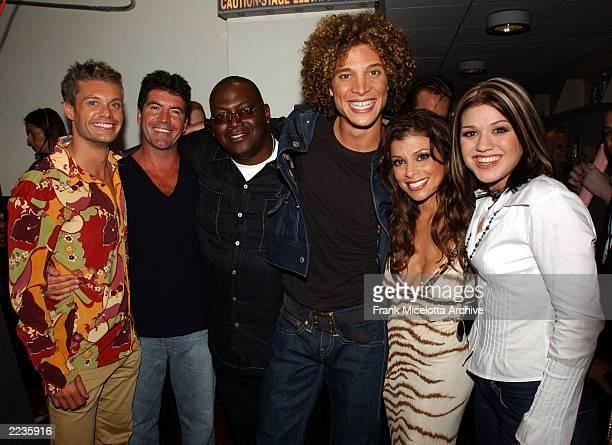 Ryan Seacrest Simon Cowell Randy Jackson Justin Guarini Paula Abdul and Kelly Clarkson of American Idol backstage at the 2002 MTV Video Music Awards...