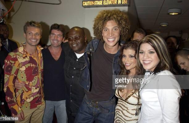 Ryan Seacrest Simon Cowell Randy Jackson Justin Guarini Paula Abdul and Kelly Clarkson from American Idol
