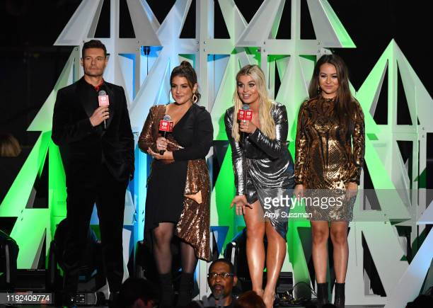 Ryan Seacrest Sisanie Tanya Rad and Patty Rodriguez speak onstage during KIIS FM's Jingle Ball 2019 presented by Capital One at The Forum on December...