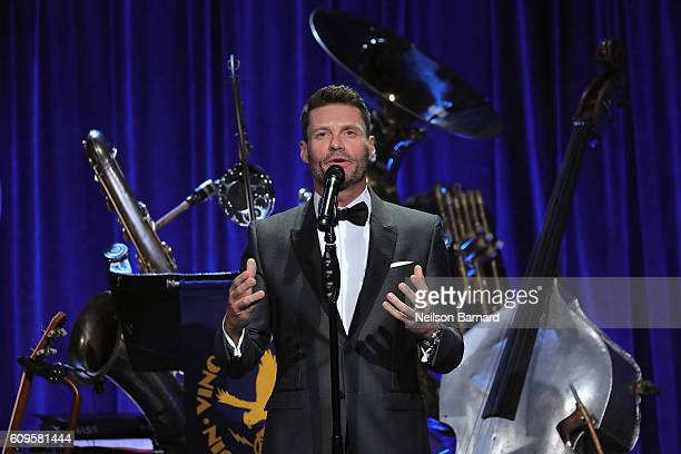 Ryan Seacrest speaks onstage as Friars Club Honors Martin Scorsese With Entertainment Icon Award at Cipriani Wall Street on September 21 2016 in New...