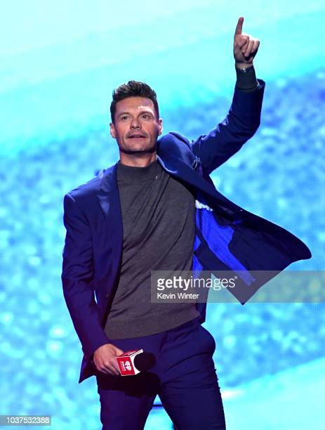 Ryan Seacrest speaks onstage during the 2018 iHeartRadio Music Festival at TMobile Arena on September 21 2018 in Las Vegas Nevada