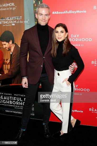 Ryan Serhant and Emilia Bechrakis Serhant attend A Beautiful Day In The Neighborhood New York Screening at Henry R Luce Auditorium at Brookfield...