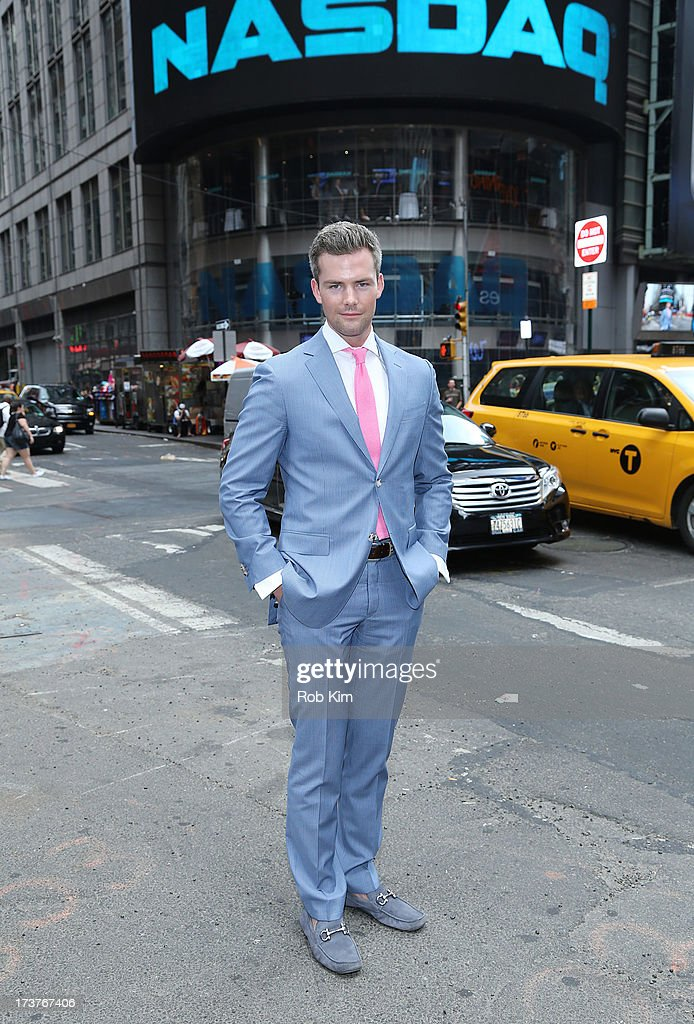 Ryan Serhant, cast member of Bravo's 'Million Dollar Listing' rings closing bell at NASDAQ MarketSite on July 17, 2013 in New York City.
