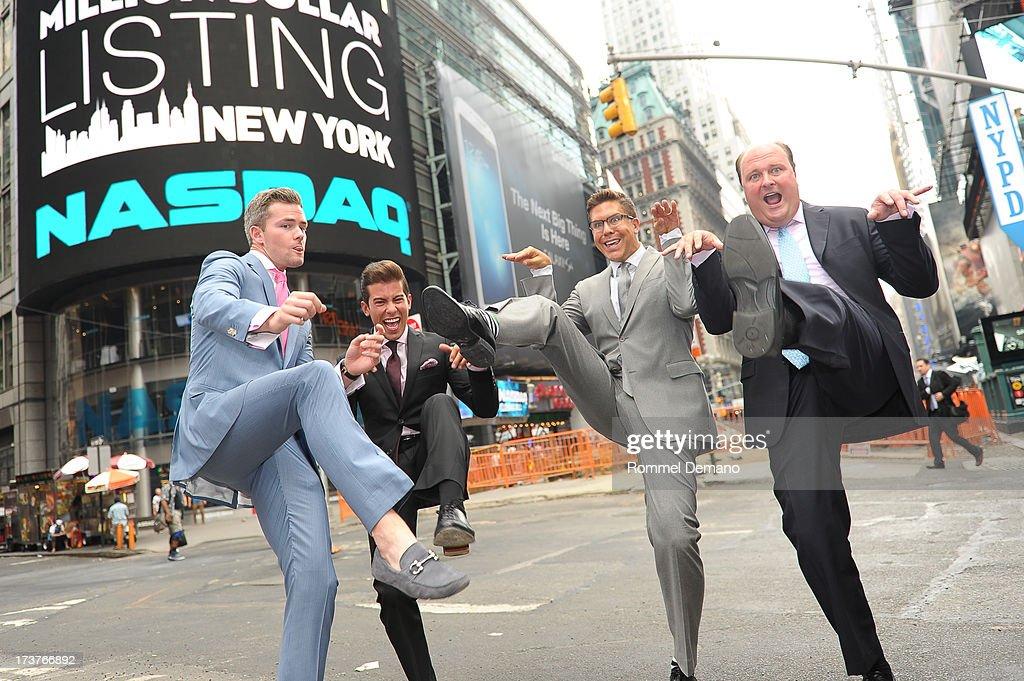 Ryan Serhant, Luis D Ortiz, Fredrik Eklund and David Wicks ring the NASDAQ closing bell at NASDAQ MarketSite on July 17, 2013 in New York City.