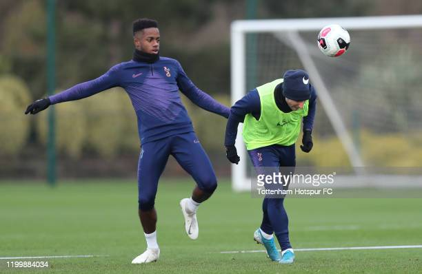 Ryan Sessegnon and Christian Eriksen of Tottenham Hotspur during the Tottenham Hotspur training session at Tottenham Hotspur Training Centre on...