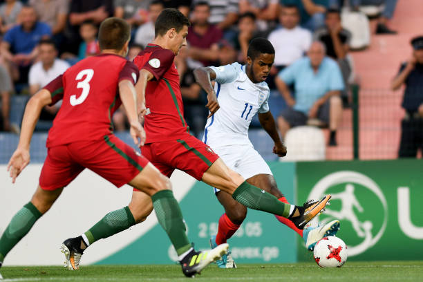 Ryan Sessegnon of England in action during the UEFA European Under-19 Championship Final between England and Portugal on July 15, 2017 in Gori,...