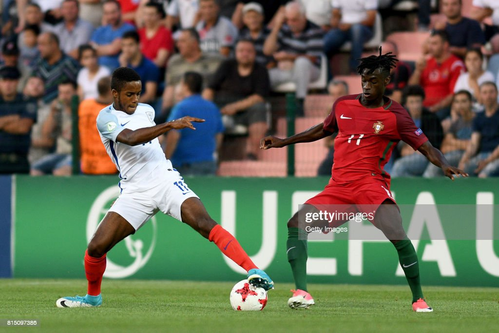 Ryan Sessegnon of England in action with Mesaque Dju of Portugal during the UEFA European Under-19 Championship Final between England and Portugal on July 15, 2017 in Gori, Georgia.