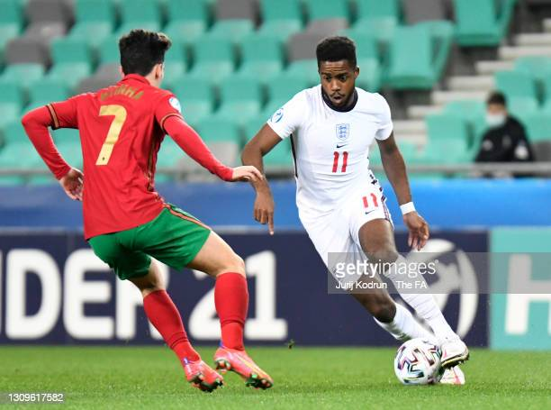 Ryan Sessegnon of England is closed down by Vitinha of Portugal during the 2021 UEFA European Under-21 Championship Group D match between Portugal...