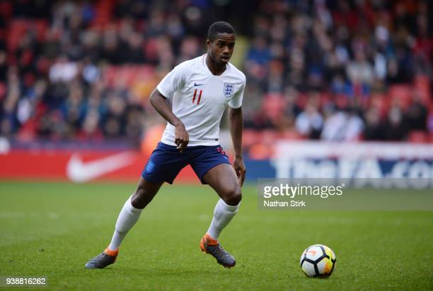 Ryan Sessegnon of England U21 in action during the U21 European Championship Qualifier match between England U21 and Ukraine U21 at Bramell Lane on...