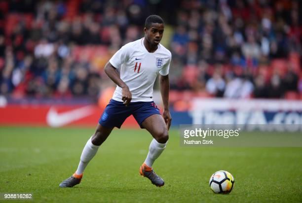 Ryan Sessegnon of England U21 in action during the U21 European Championship Qualifier match between England U21 and Ukraine U21 at Bramell Lane on...
