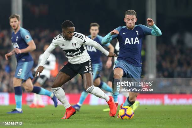 Ryan Sessegnon of Fulham and Toby Alderweireld of Tottenham during the Premier League match between Fulham FC and Tottenham Hotspur at Craven Cottage...