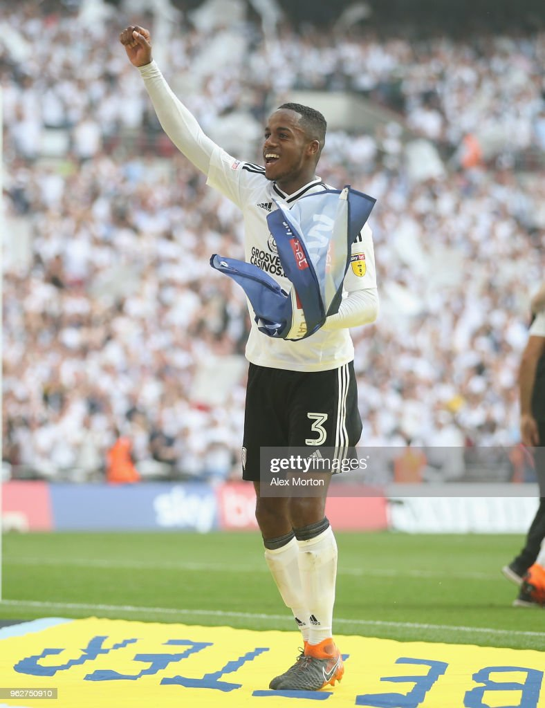 Ryan Sessegnon of Fulham celebrates at the final whistle during the Sky Bet Championship Play Off Final match between Aston Villa and Fulham at Wembley Stadium on May 26, 2018 in London, England.
