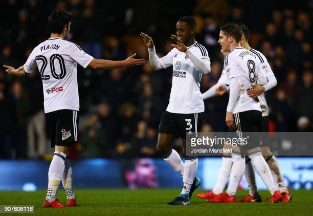 Ryan Sessegnon of Fulham celebrates with his teammates after scoring his sides fourth goal during the Sky Bet Championship match between Fulham and...