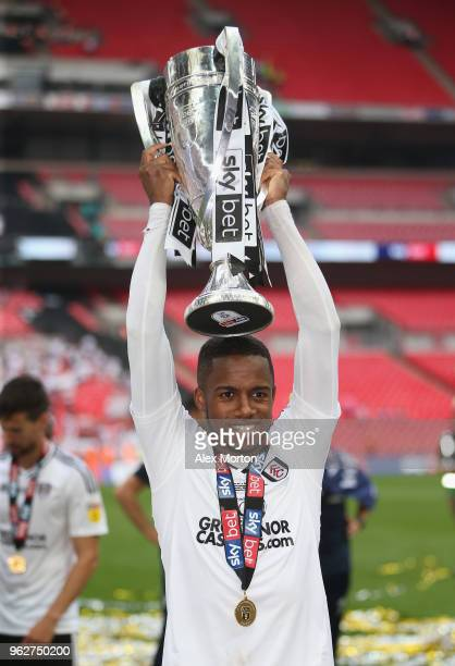 Ryan Sessegnon of Fulham celebrates with the Championship Play Off Final trophy during the Sky Bet Championship Play Off Final match between Aston...