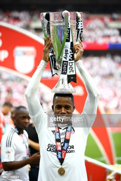 Ryan Sessegnon of Fulham celebrates with the trophy following their sides victory in the Sky Bet Championship Play Off Final between Aston Villa and...