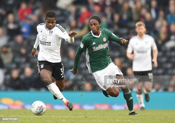 Ryan Sessegnon of Fulham challenges for the ball during the Sky Bet Championship match between Fulham and Brentford at Craven Cottage on April 14...