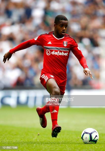 Ryan Sessegnon of Fulham controls the ball during the Premier League match between Tottenham Hotspur and Fulham FC at Wembley Stadium on August 18...