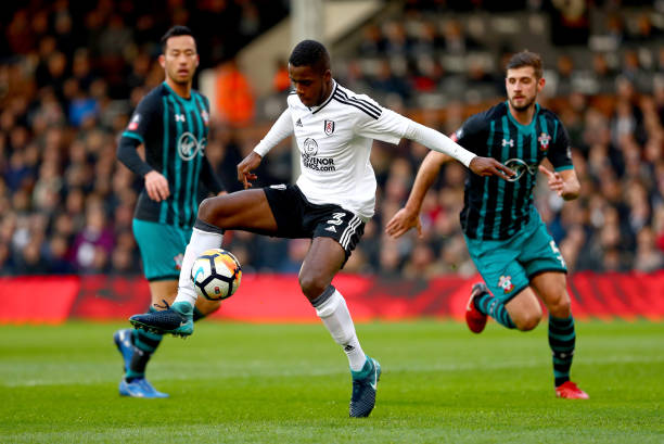 Ryan Sessegnon of Fulham controls the ball under pressure from Jack Stephens of Southampton during the The Emirates FA Cup Third Round match between...