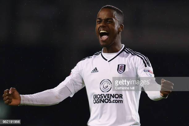 Ryan Sessegnon of Fulham FC celebrates at the end of the Sky Bet Championship match between Fulham and Sunderland at Craven Cottage on April 27 2018...