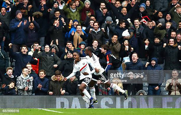 Ryan Sessegnon of Fulham FC celebrates scoring his sides third goal with Sone Aluko of Fulham FC during The Emirates FA Cup Fourth Round match...