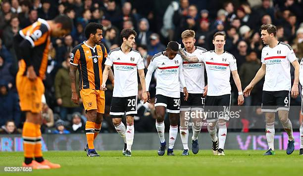 Ryan Sessegnon of Fulham FC celebrates setting up his sides second goal with his Fulham team mates during The Emirates FA Cup Fourth Round match...