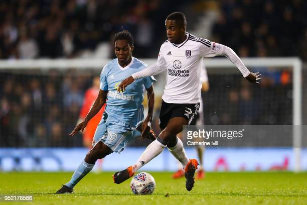 Ryan Sessegnon of Fulham FC competes for the ball with Joel Asoro of Sunderland during the Sky Bet Championship match between Fulham and Sunderland...