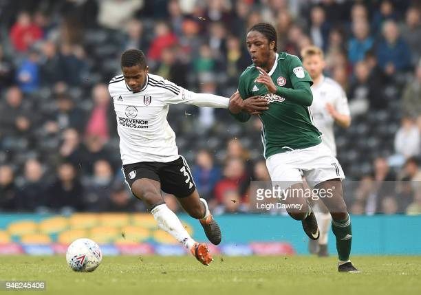 Ryan Sessegnon of Fulham gains possession of the ball against Romaine Sawyers of Brentford during the Sky Bet Championship match between Fulham and...