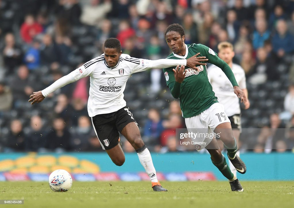 Ryan Sessegnon of Fulham gains possession of the ball against Romaine Sawyers of Brentford during the Sky Bet Championship match between Fulham and Brentford at Craven Cottage on April 14, 2018 in London, England.
