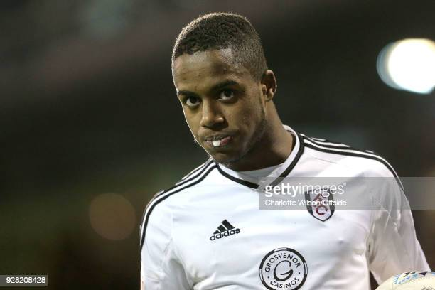 Ryan Sessegnon of Fulham gathers a globule of spit on his lips during the Sky Bet Championship match between Fulham and Sheffield United at Craven...