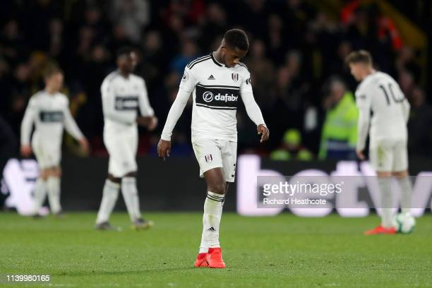 Ryan Sessegnon of Fulham looks dejected after his team concede a third goal during the Premier League match between Watford FC and Fulham FC at...