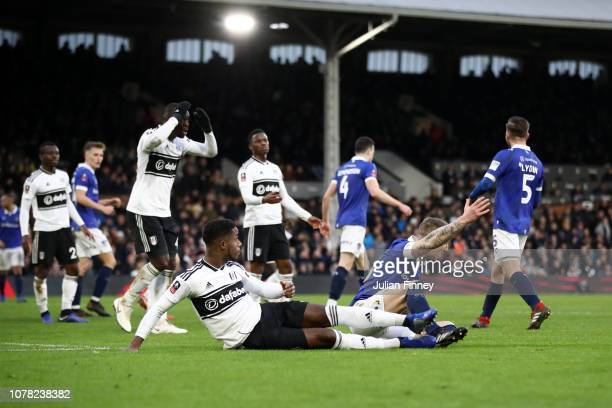 Ryan Sessegnon of Fulham reacts after a foul that later gave a penalty to Oldham Athletics during the FA Cup Third Round match between Fulham and...