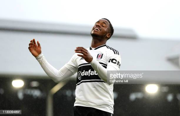 Ryan Sessegnon of Fulham reacts after his disallowed goal during the Premier League match between Fulham FC and Chelsea FC at Craven Cottage on March...