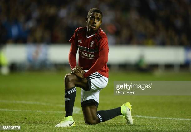 Ryan Sessegnon of Fulham reacts during the Sky Bet Championship Play Off Second Leg match between Reading and Fulham at Madejski Stadium on May 16...