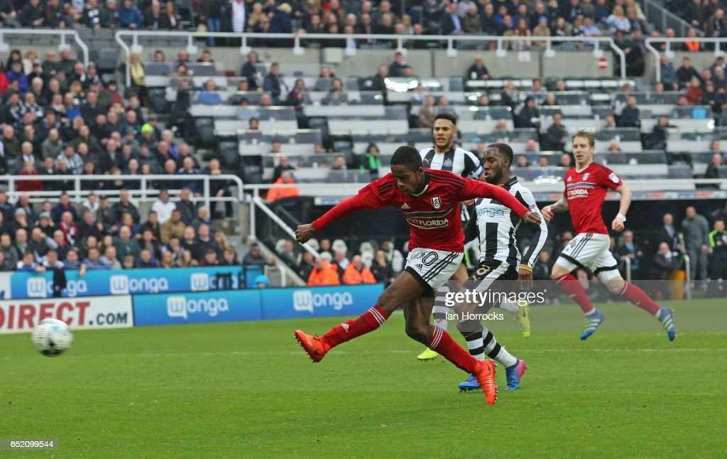 Ryan Sessegnon of Fulham scores the third goal during the Sky Bet Championship match between Newcastle United and Fulham at St James' Park on March 11, 2017 in Newcastle upon Tyne, England.