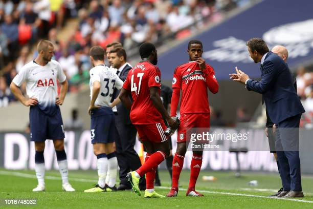 Ryan Sessegnon of Fulham speaks with Slavisa Jokanovic Manager of Fulham during the Premier League match between Tottenham Hotspur and Fulham FC at...