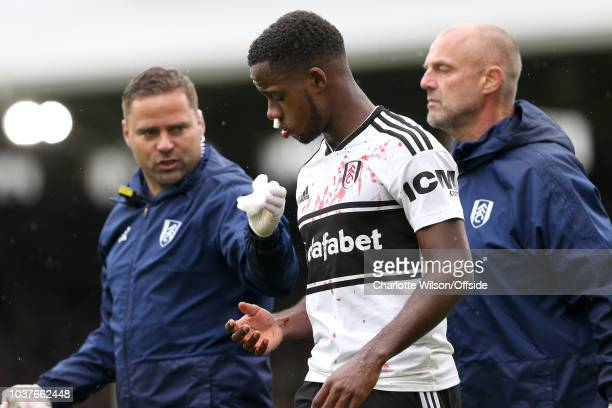 Ryan Sessegnon of Fulham walks off the pitch with a bloodied shirt and face after sustaining an injury during the Premier League match between Fulham...