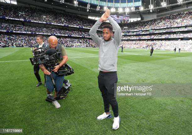 Ryan Sessegnon of Tottenham Hotspur acknowledges the crowd prior to the Premier League match between Tottenham Hotspur and Aston Villa at Tottenham...