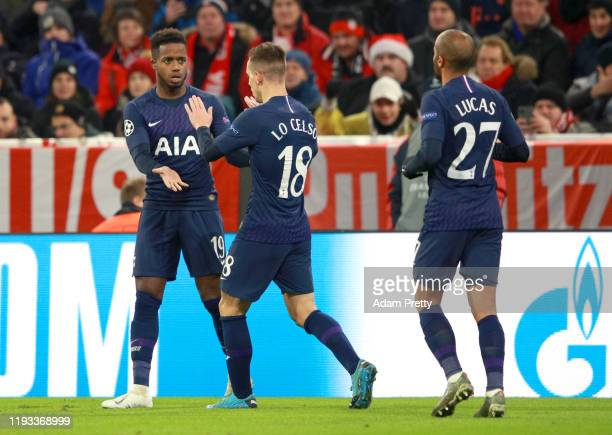 Ryan Sessegnon of Tottenham Hotspur celebrates after scoring his team's first goal with Giovani Lo Celso during the UEFA Champions League group B...