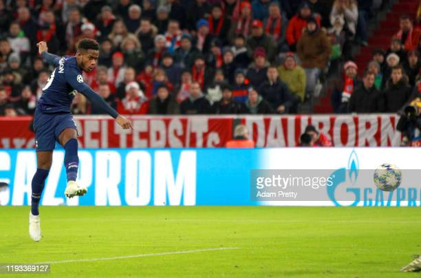 Ryan Sessegnon of Tottenham Hotspur scores his team's first goal during the UEFA Champions League group B match between Bayern Muenchen and Tottenham...