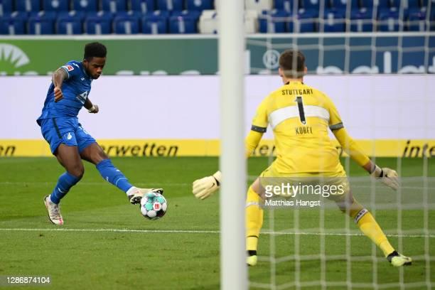 Ryan Sessegnon of TSG 1899 Hoffenheim scores his team's second goal past Gregor Kobel of VfB Stuttgart during the Bundesliga match between TSG...