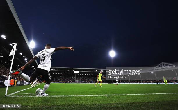 Ryan Sessegnon takes a corner during the Carabao Cup Second Round match between Fulham and Exeter City at Craven Cottage on August 28 2018 in London...
