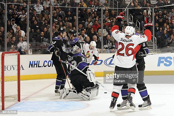 Ryan Shannon of the Ottawa Senators celebrates a goal against the Los Angeles Kings during the game on December 3, 2009 at Staples Center in Los...
