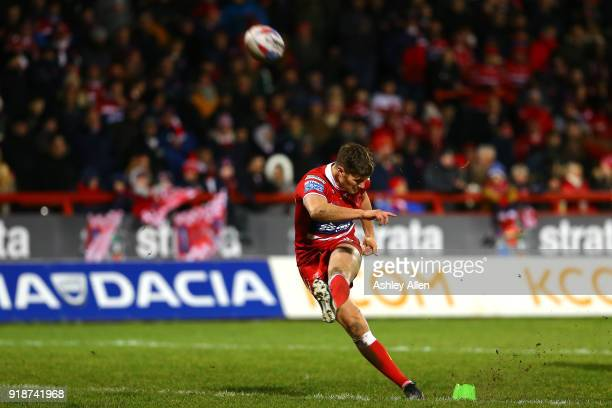 Ryan Shaw of Hull KR kicks a conversion during the BetFred Super League match between Hull KR and Catalans Dragons at KCOM Craven Park on February 15...