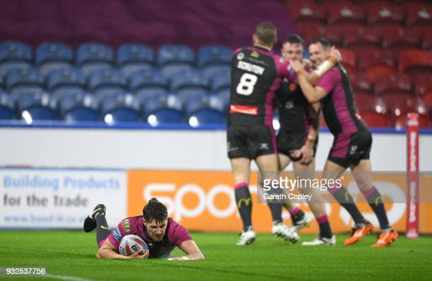 Ryan Shaw of Hull KR scores a second half try during the Betfred Super League match between Huddersfield Giants and Hull Kingston Rovers at John...