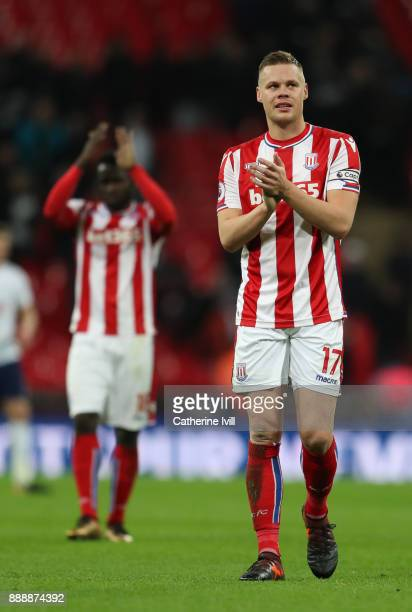 Ryan Shawcross of Stoke City applauds fans after the Premier League match between Tottenham Hotspur and Stoke City at Wembley Stadium on December 9...