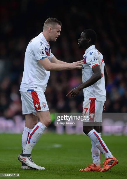Ryan Shawcross of Stoke City attempts to calm down Badou Ndiaye of Stoke City during the Premier League match between AFC Bournemouth and Stoke City...