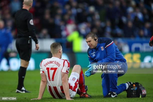 Ryan Shawcross of Stoke City down injured during the Premier League match between Huddersfield Town and Stoke City at John Smith's Stadium on...