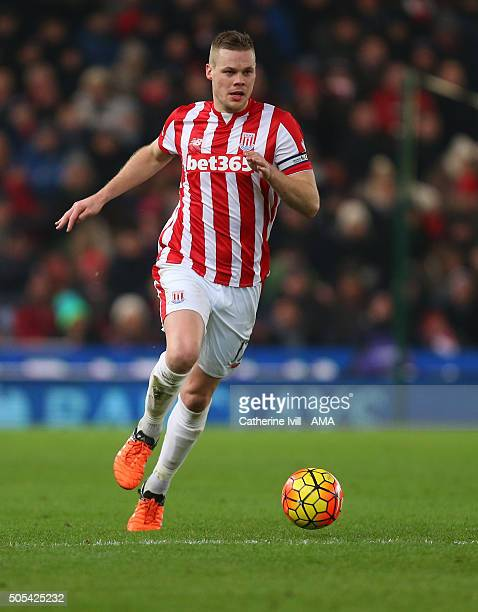 Ryan Shawcross of Stoke City during the Barclays Premier League match between Stoke City and Arsenal at the Britannia Stadium on January 17 2016 in...